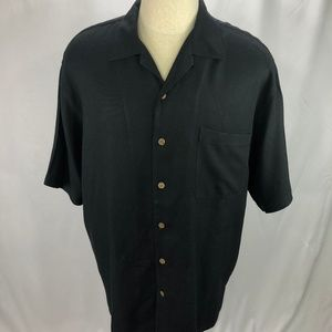 Tommy Bahama Mens Black Silk Hawaiian Camp Shirt L